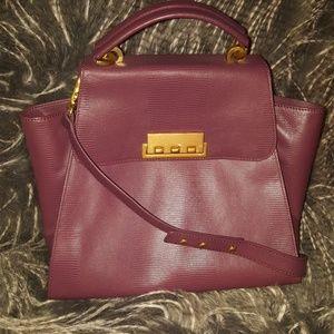 Z Spoke Zac Posen Plum Leather Satchel Handbag
